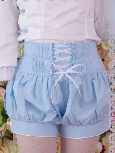 Milanoo Sky Blue Cotton Lolita Shorts Lace Up Ruffles
