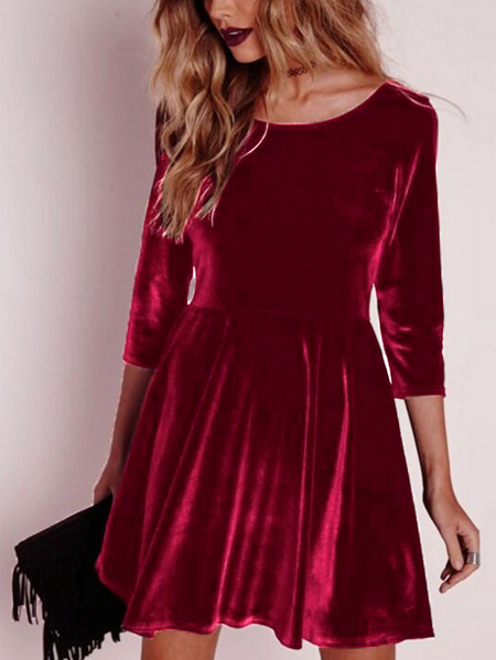Yoins Red Flannel Round Neck Long Sleeves Dress