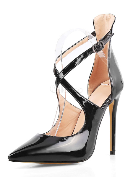 Milanoo Burgundy Sexy High Heels 2020 Pointed Toe Criss Cross Patent Leather Stiletto Heel Pumps Shoes