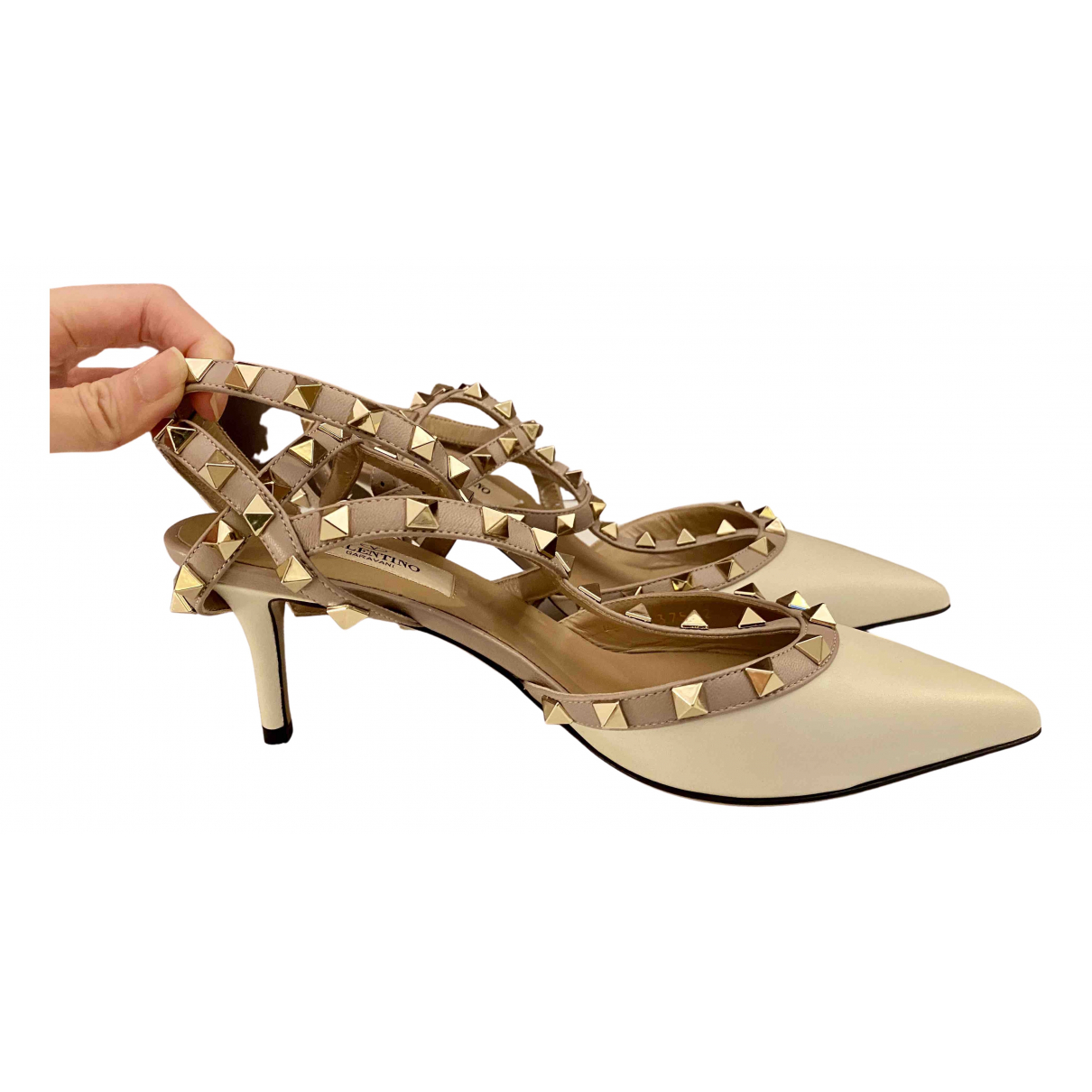 Valentino Garavani Rockstud White Leather Heels for Women 37 EU