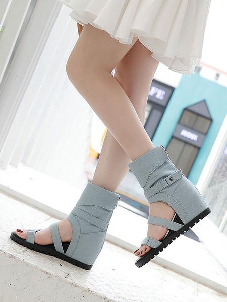 Milanoo Sandalias romanas azules Sandalias planas de lona con hebilla lateral y hebilla plana para mujer