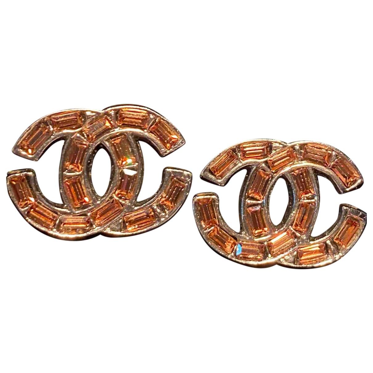 Chanel - Boucles doreilles CC pour femme en metal - marron