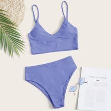 Bikini Badeanzug mit verstellbarem Riemen und hoher Taille