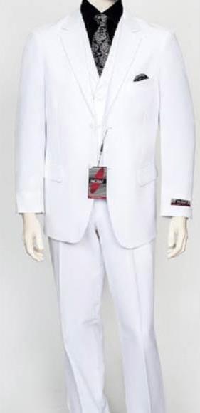 Mens White 3Piece Poly Poplin Fabric Vest Dress Suit Wth Pleated Pant