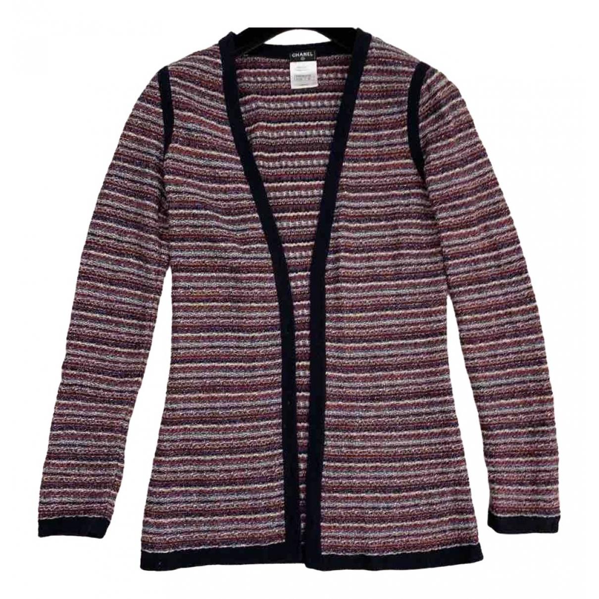 Chanel - Pull   pour femme en coton - bordeaux
