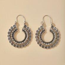 Hollow Out Rhinestone Decor Hoop Earrings