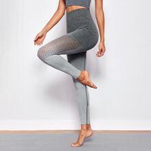 Sports Leggings mit breitem Taillenband und Ausschnitt