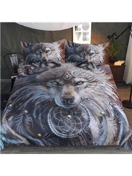 Wolf With Firm Eyes Oil Painting Digital Printing Polyester 3D 3-Piece Bedding Sets/Duvet Covers
