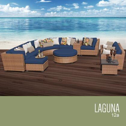 LAGUNA-12a-NAVY Laguna 12 Piece Outdoor Wicker Patio Furniture Set 12a with 2 Covers: Wheat and