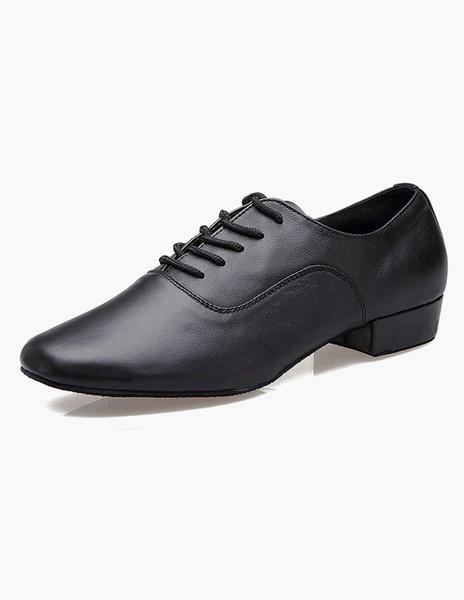 Milanoo Black Round Toe Lace Up Cowhide Fashion Ballroom Shoes