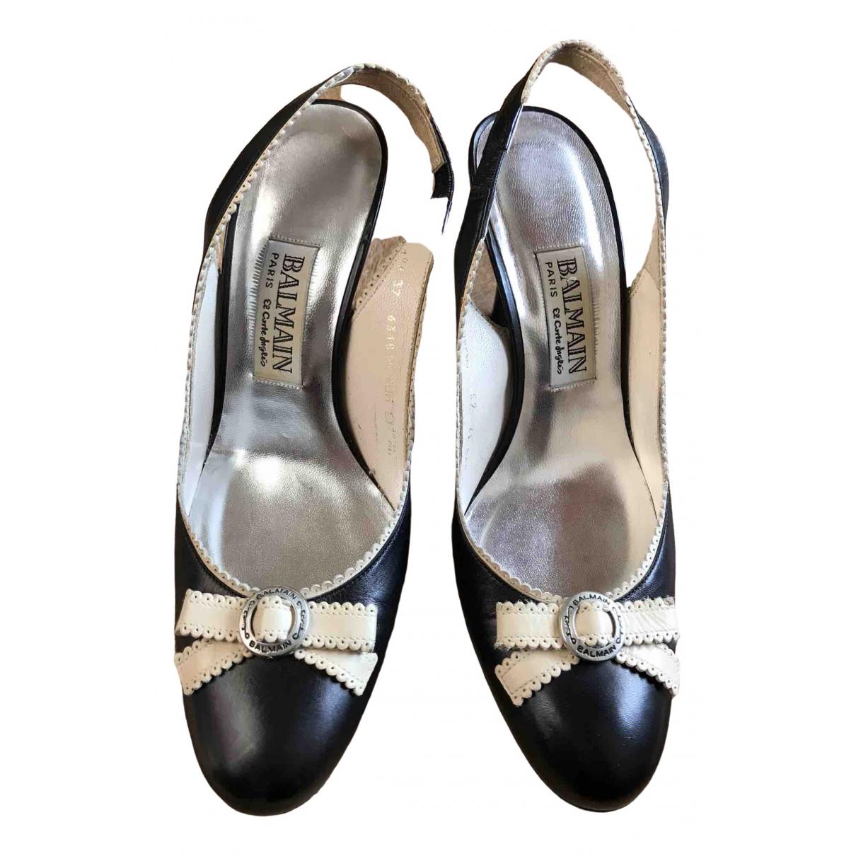Balmain N Black Leather Sandals for Women 37 EU