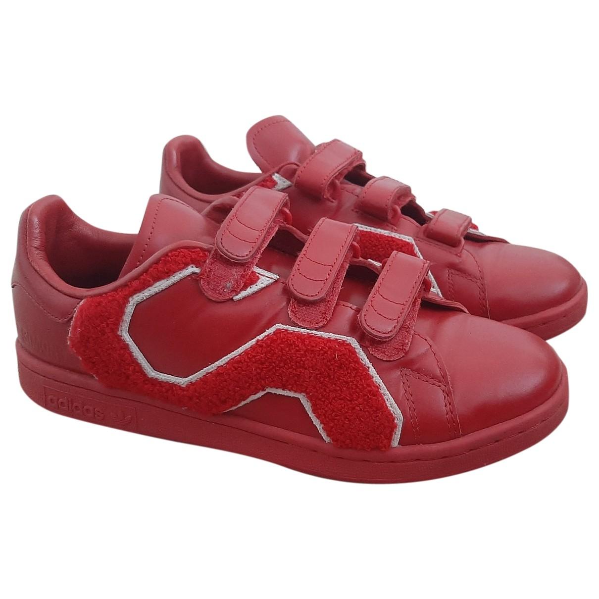 Adidas X Raf Simons - Baskets Stan Smith pour femme en cuir - rouge