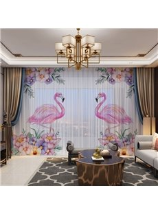 3D Flamingos Standing among the Flowers Printed Romantic Style 2 Panels Custom Sheer