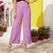 Guipure Lace Trim Wide Leg Pants