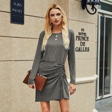 Solid Drawstring Front Fitted Dress