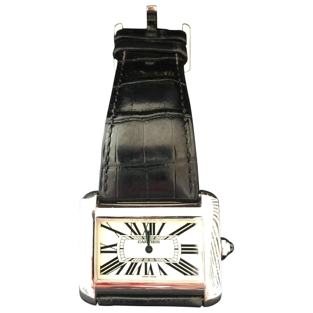 Cartier - Montre Divan pour femme en acier - noir