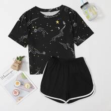 Galaxy Print Tee & Dolphin Shorts PJ Set