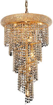 V1801SR16G/EC 1801 Spiral Collection Pendant Ceiling Light D:16In H:26In Lt:8 Gold Finish (Elegant Cut