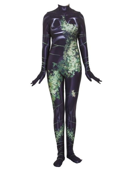Milanoo DC Comics Poison Ivy Lycra Spandex Zentai Disfraz de Halloween Cosplay Monos