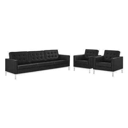 Loft Collection EEI-4105-SLV-BLK-SET 3 Piece Sofa and Armchair Set with Silver Stainless Steel Legs  Non-Marking Foot Caps  Dense Foam Padded Cushion