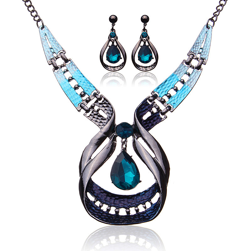 Luxury Jewelry Set Blue Rhinestone Crystal Earrings Necklace Set