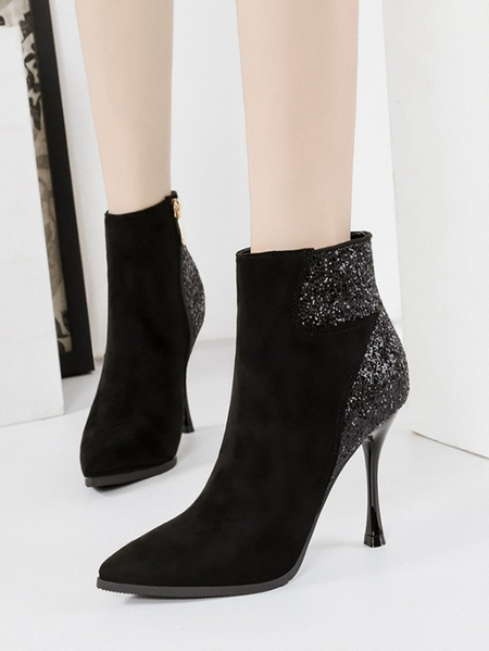 Yoins Fashion Suede Sequins Martin Pointed Short Boots