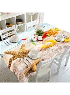 Fabulous Starfishes and Seashells Seaside Scenery Prints Washable 3D Tablecloth