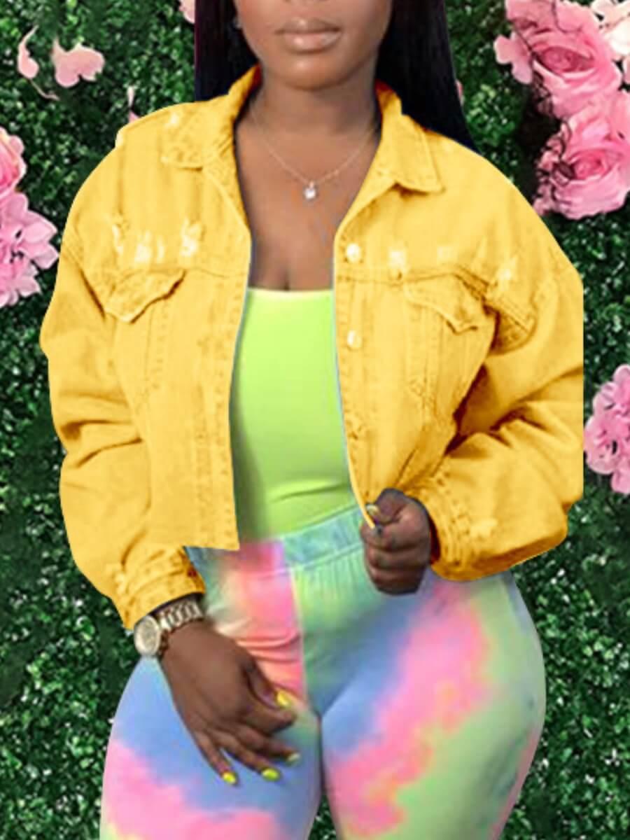 LW Lovely Trendy Turndown Collar Broken Holes Yellow Denim Jacket