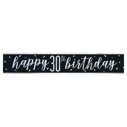 9ft Birthday Glitz Black & Silver Prismatic Foil Banner, 1ct - Age 30