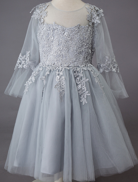 Milanoo Wedding Flower Girl Dress Kids Formal Party Lace Tulle Knee Length Princess Dresses