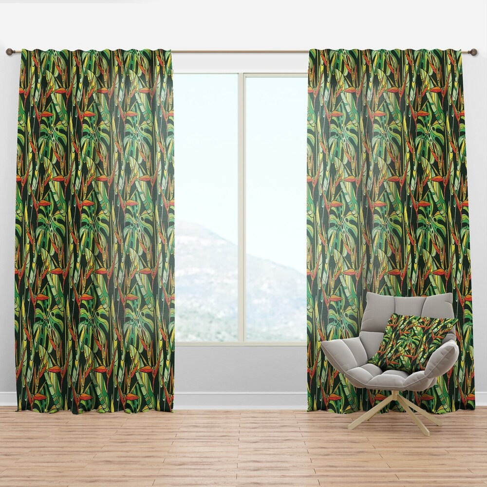 Designart 'Colorful Tropical Pattern with Heliconia Flowers' Tropical Curtain Panel (50 in. wide x 120 in. high - 1 Panel)
