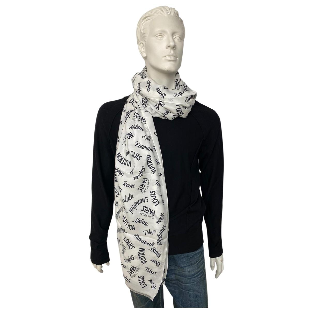 Louis Vuitton \N Tuecher, Schal in  Weiss Baumwolle