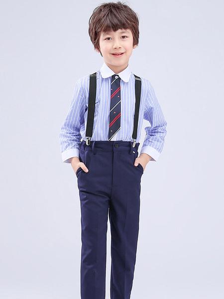 Milanoo Portador del anillo Trajes azules Algodon Manga larga Camisa Pantalones Corbata Wedding Boy Trajes 3pcs