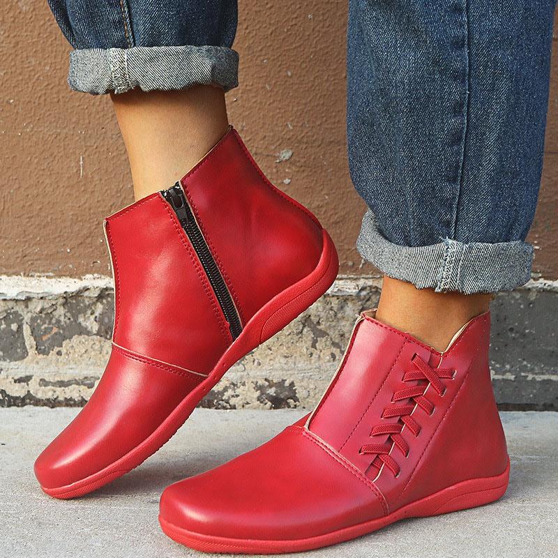 Ericdress Plain Flat With Side Zipper Western Boots