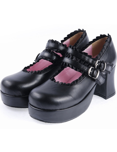 Milanoo Matte Black Lolita Chunky Heels Shoes Platform Ribbon Trim Straps Buckles