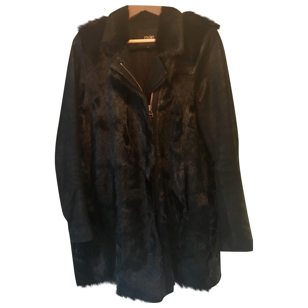 Maje - Manteau   pour femme en fourrure - noir