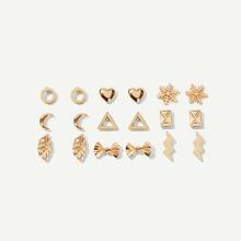 Heart & Snowflake Stud Earrings 9pairs