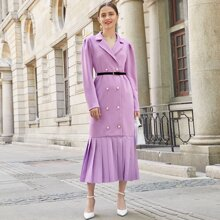 Notched Collar Double Breasted Pleated Hem Belted Blazer Dress