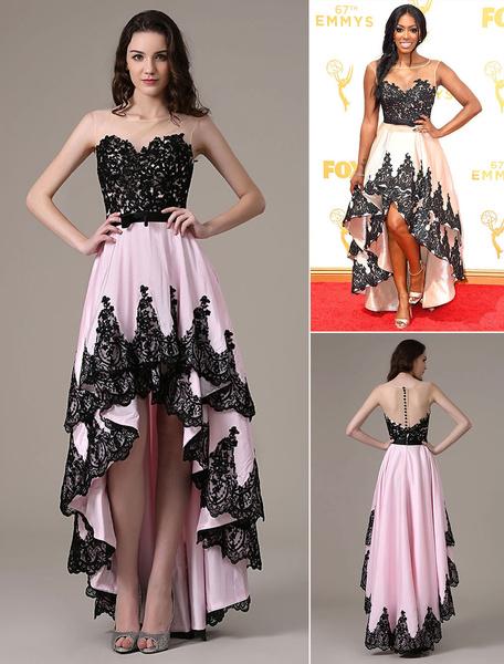 Milanoo Celebrity Dresses Porsha Williams Emmys Illusion Pink Lace Taffeta High Low Dress