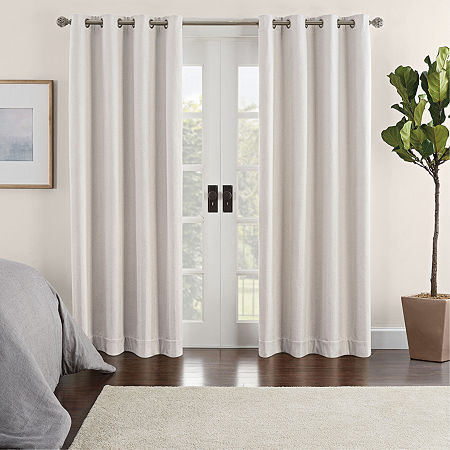 Eclipse Ambiance Chevron Draft Stopper Energy Saving 100% Blackout Grommet-Top Single Curtain Panel, One Size , Beige