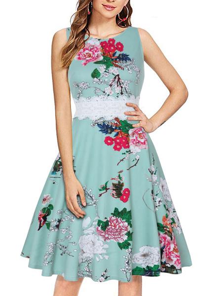 Milanoo Vestido vintage floral Vestido de encaje sin mangas con parche de encaje de los años 50