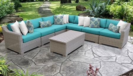 Coast Collection COAST-08a-ARUBA 8-Piece Patio Set 08a with 1 Corner Chair   4 Armless Chair   1 Storage Coffee Table   1 Left Arm Chair   1 Right