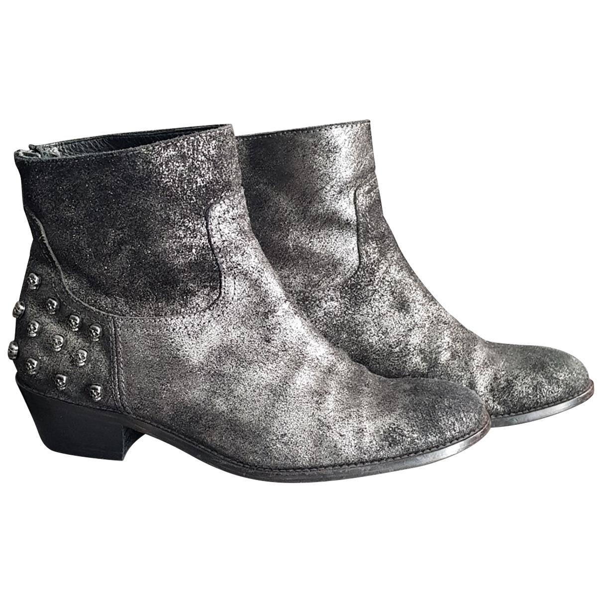 Zadig & Voltaire - Boots Teddy pour femme en cuir - gris