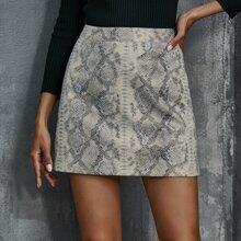 Snakeskin Print Straight Mini Skirt