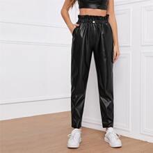 Pantalones PU con bolsillo oblicuo de cintura con volante