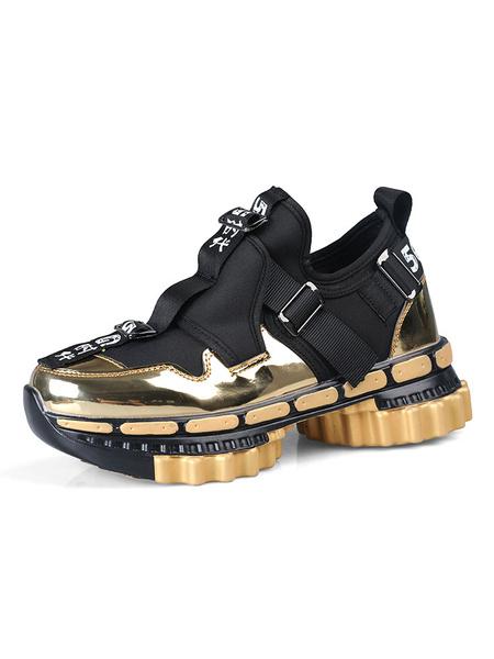 Milanoo Color vibrante Atletica El aumento de las zapatillas de deporte acogedor dedo del pie redondo del bloque del color altura de los zapatos de lo