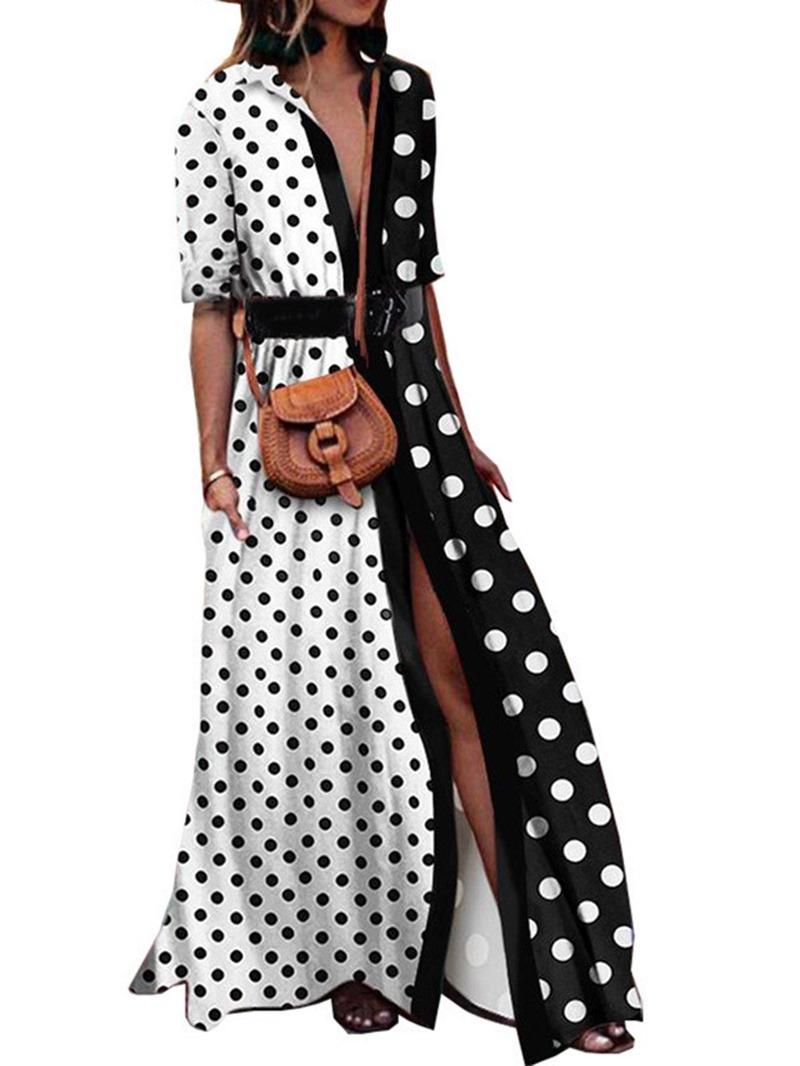 Ericdress Half Sleeve V-Neck Floor-Length Lace-Up Stripe Dress