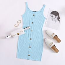 Button Front Rib-knit Dress