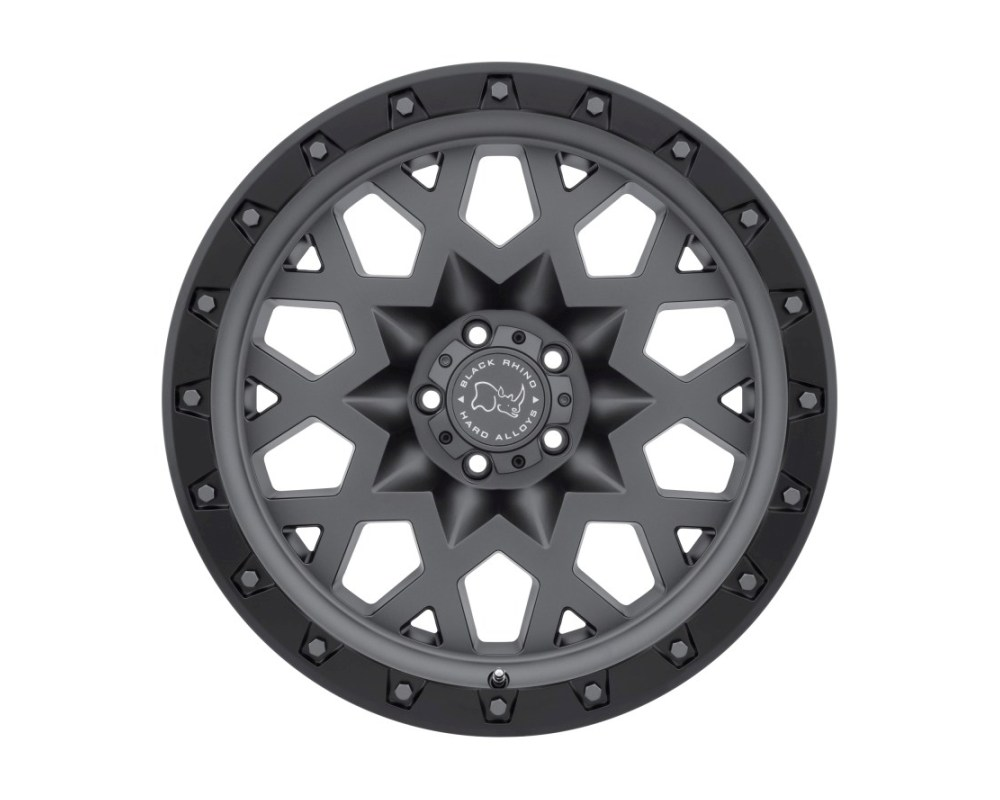 Black Rhino Sprocket Matte Gunmetal w/ Black Lip Edge & Gunmetal Bolts Wheel 17x9.5 5x127|5x5 -18mm CB71.6