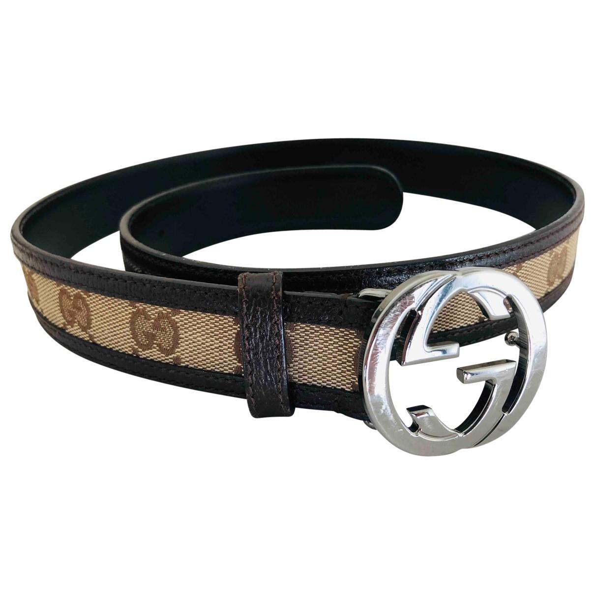 Gucci Interlocking Buckle Brown Cloth belt for Women XS International